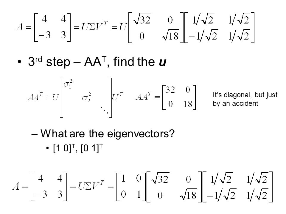 3rd step – AAT, find the u What are the eigenvectors [1 0]T, [0 1]T